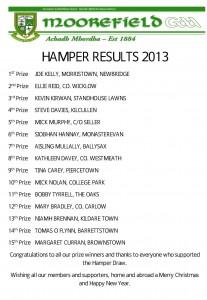 Hamper winners 2013