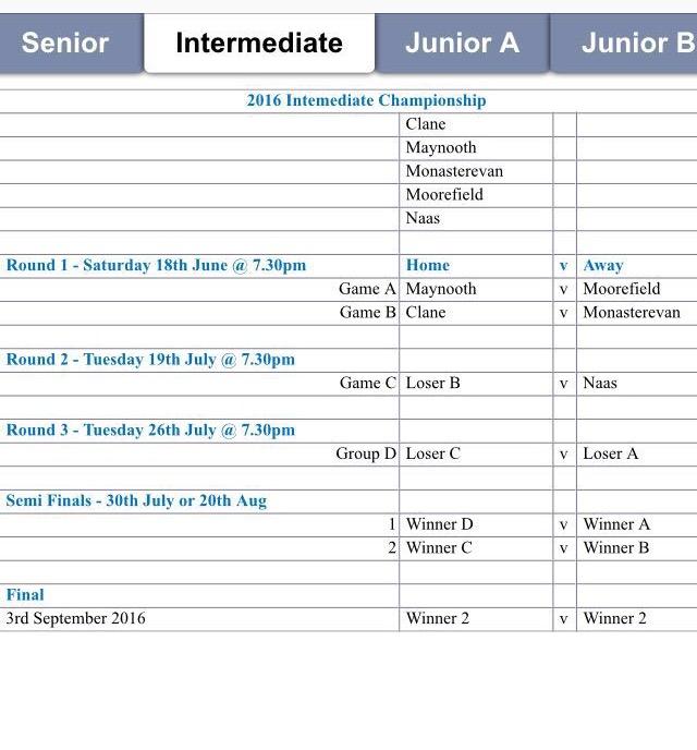 Championship Fixtures 2016   Moorefield GAA